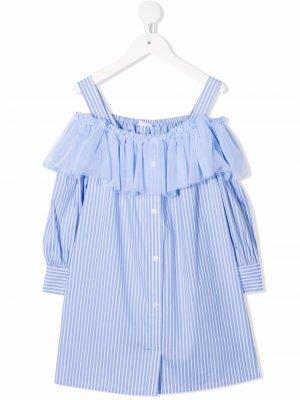 Полосатое платье с оборками Miss Grant Kids. Цвет: синий
