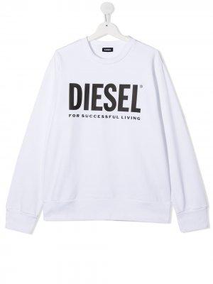 Свитер с логотипом Diesel Kids. Цвет: белый