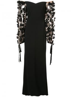 Вечернее платье с заниженной линией плеч Badgley Mischka. Цвет: черный