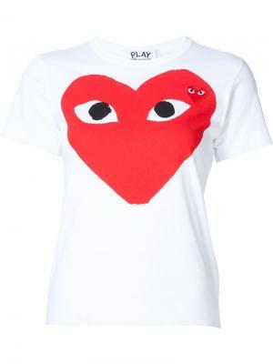 Футболка с сердцем-логотипом Comme Des Garçons Play. Цвет: white