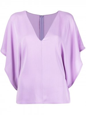 Блузка Georgette с V-образным вырезом Valentino. Цвет: фиолетовый