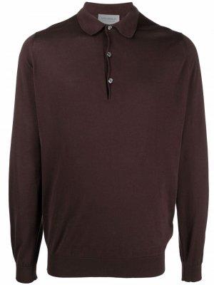 Трикотажная рубашка поло с длинными рукавами John Smedley. Цвет: коричневый