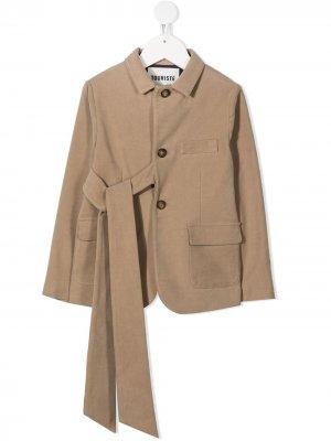 Пиджак с завязками спереди Touriste. Цвет: коричневый