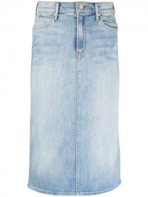 Джинсовая юбка миди MOTHER. Цвет: синий