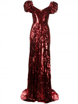 Платье с пайетками Jenny Packham. Цвет: красный