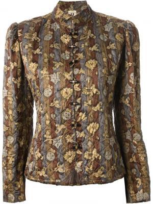 Стеганая куртка с цветочным принтом Emanuel Ungaro Pre-Owned. Цвет: зеленый