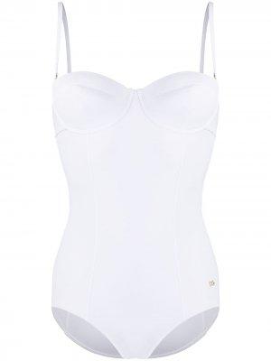 Купальник-бюстье с металлическим логотипом DG Dolce & Gabbana. Цвет: белый