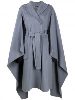 Двубортное пальто-кейп Alberta Ferretti. Цвет: синий