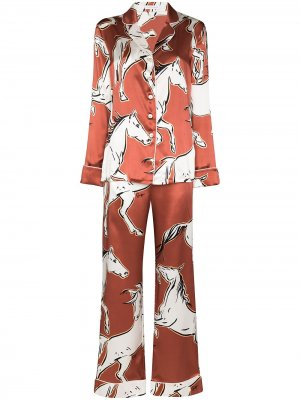 Пижама Lila Charme с принтом Olivia von Halle. Цвет: красный