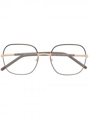 Очки в квадратной оправе Prada Eyewear. Цвет: золотистый