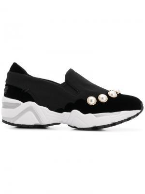 Faux pearl embellished sneakers Suecomma Bonnie. Цвет: черный
