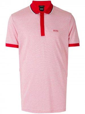 Рубашка поло в двух тонах BOSS. Цвет: красный