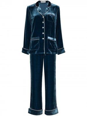 Бархатная пижама Coco Olivia von Halle. Цвет: синий