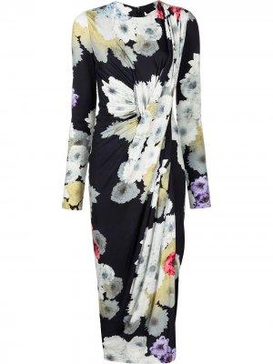 Платье миди с цветочным принтом Jason Wu Collection. Цвет: синий