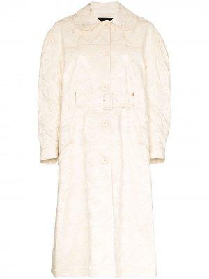 Расклешенное пальто с вышивкой Simone Rocha. Цвет: белый