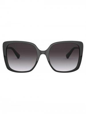Солнцезащитные очки в массивной квадратной оправе Bvlgari. Цвет: черный