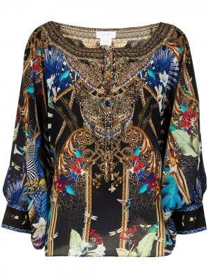 Блузка с вышивкой Camilla. Цвет: разноцветный