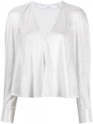 Блузка с V-образным вырезом IRO. Цвет: серебристый