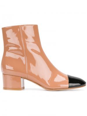 Ботинки с контрастным носком Gianvito Rossi. Цвет: телесный