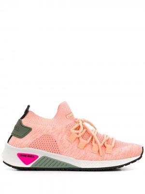 Кроссовки-носки на шнуровке Diesel. Цвет: розовый