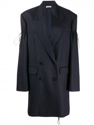 Пальто-блейзер в тонкую полоску с кулиской Nina Ricci. Цвет: синий