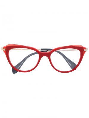 Очки в оправе кошачий глаз Miu Eyewear. Цвет: красный