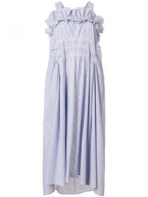 Платье с оборкой на вороте Carven. Цвет: синий