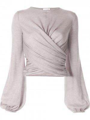 Блузка с длинными рукавами и запахом Giambattista Valli. Цвет: серый