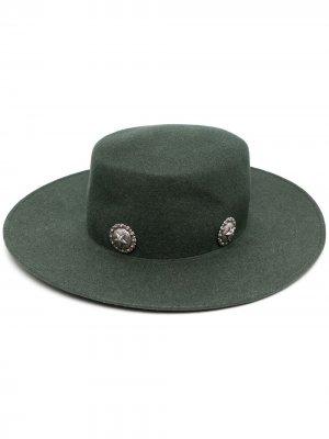 Шляпа-федора Caballera с заклепками Kate Cate. Цвет: зеленый