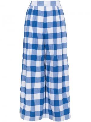 Клетчатые брюки Angie с завышенной талией Mara Hoffman. Цвет: синий