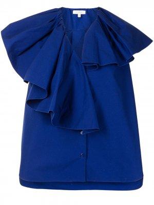 Блузка со сборками Delpozo. Цвет: синий