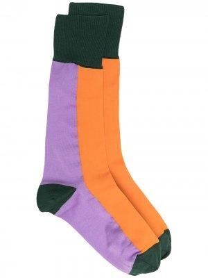 Носки в стиле колор-блок со вставками Marni. Цвет: оранжевый