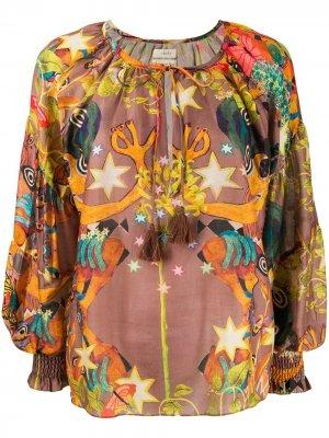 Блузка оверсайз с абстрактным принтом Chufy. Цвет: коричневый