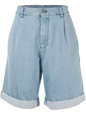 Джинсовые шорты широкого кроя Emporio Armani. Цвет: синий