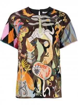 Блузка с абстрактным узором pre-owned Christian Dior. Цвет: коричневый