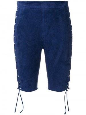Велосипедные шорты со шнуровкой UNRAVEL PROJECT. Цвет: синий