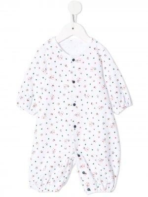 Пижама с принтом Familiar. Цвет: белый
