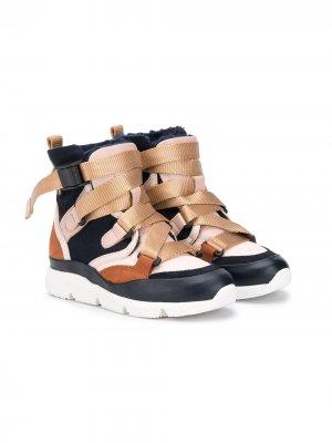 Высокие кроссовки с пряжками Chloé Kids. Цвет: синий