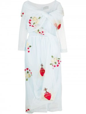 Платье с верхним слоем из тюля и вышивкой Simone Rocha. Цвет: синий