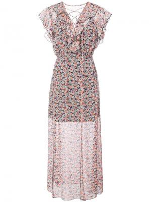 Платье из жатого шифона с мелким цветочным рисунком Anna Sui. Цвет: белый