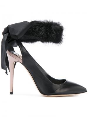 Fur trim pumps Olgana. Цвет: чёрный
