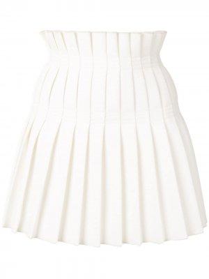Плиссированная юбка мини Dion Lee. Цвет: белый