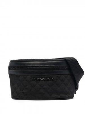 Поясная сумка с монограммой Emporio Armani. Цвет: черный