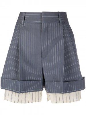 Многослойные шорты в полоску Chloé. Цвет: синий