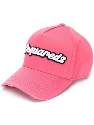 Бейсболка с вышитым логотипом Dsquared2. Цвет: розовый