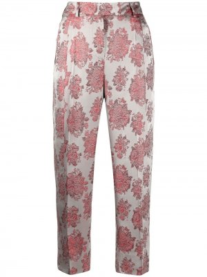 Укороченные брюки с цветочной вышивкой Alberto Biani. Цвет: серый