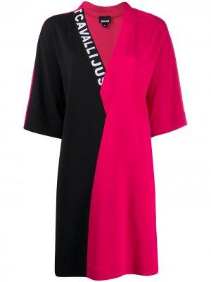 Платье в стиле колор-блок с V-образным вырезом Just Cavalli. Цвет: розовый