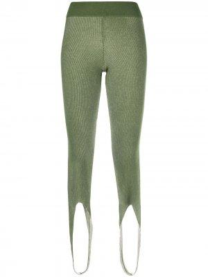 Трикотажные легинсы AMI AMALIA. Цвет: зеленый