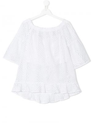 Блузка с короткими рукавами и прорезной вышивкой Elsy. Цвет: белый
