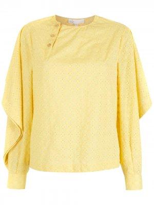 Фактурная блузка с длинными рукавами Nk. Цвет: желтый